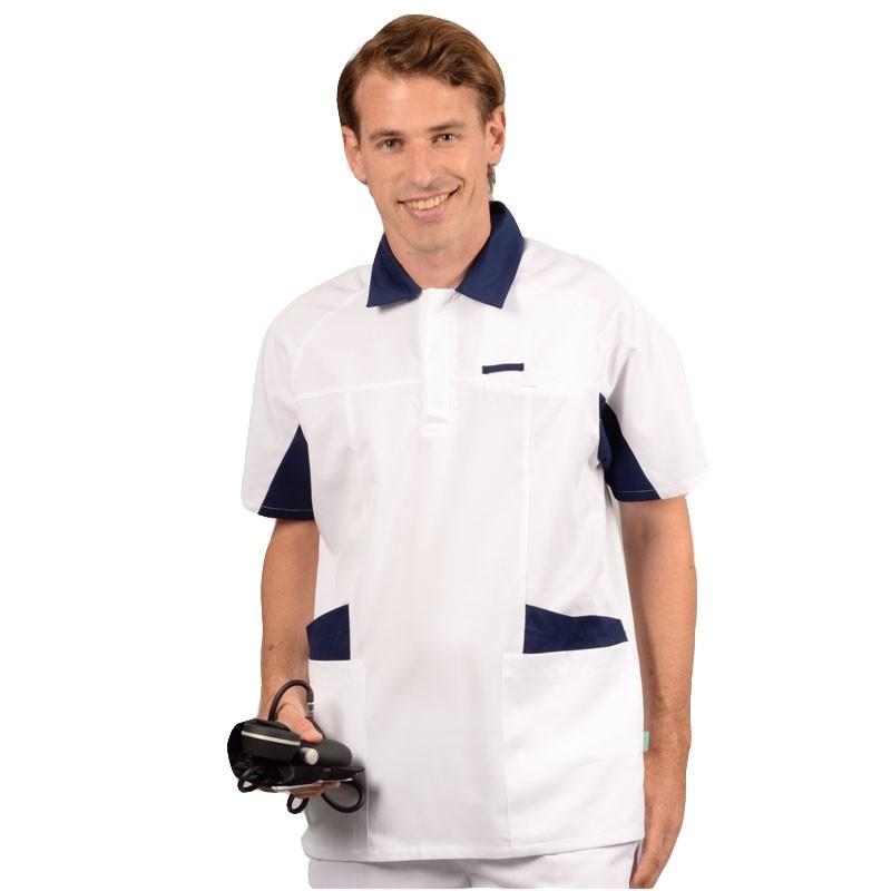 Tunique médicale homme blanc et bleu 2LUC face