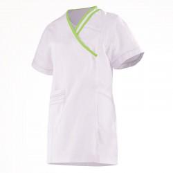 blouse esthéticienne blanche et verte Lafont