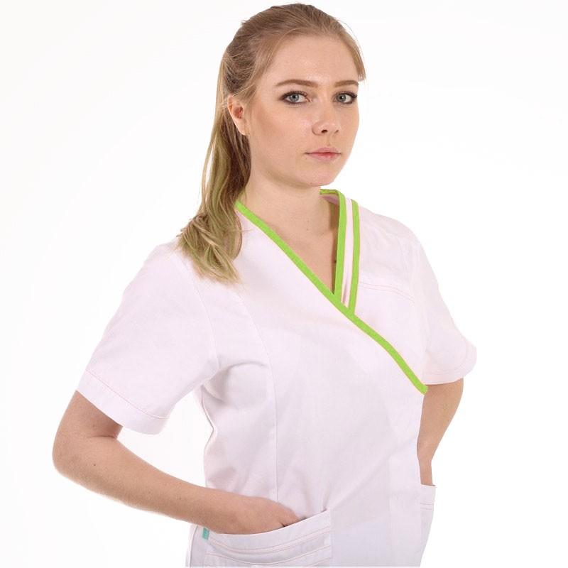 blouse esthéticienne blanche et verte clemix Lafont