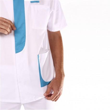 Blouse médicale homme 2LEE blanc & bleu ciel confortables pas chère