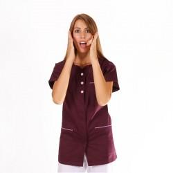 blouse etheticienne prune manches courtes