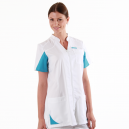 Blouse médicale femmes  2SAN blanc & bleu ciel manches courtes promotions