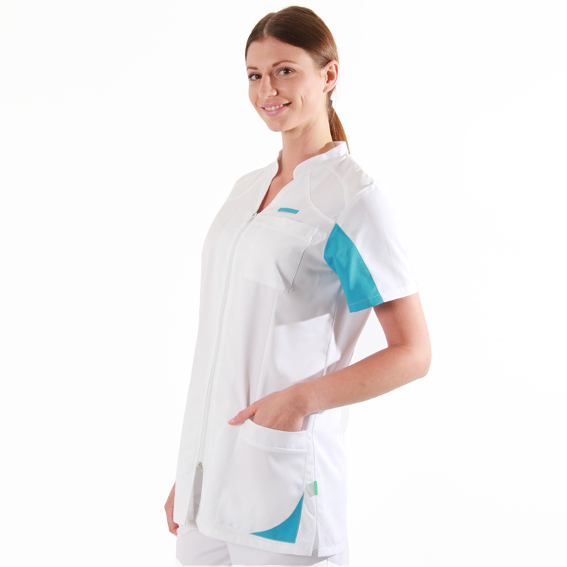 Blouse médicale femmes  2SAN blanc & bleu ciel pas cher