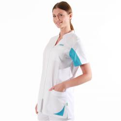 Blouse médicale manches courtes 2SAN blanc & bleu ciel