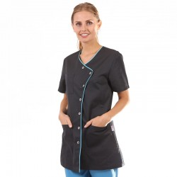 Blouse médicale noire liseré long - Clinic Dress femme manche courte promotion confortable  pas cher