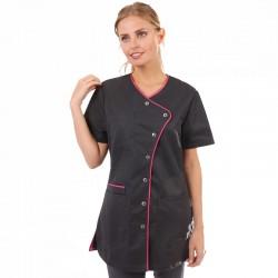 Blouse medicale lisere rose femme manche courte promotion confortable pas cher