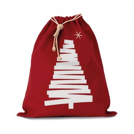 sac de noël rouge imprimé sapin toptex
