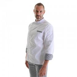 Veste de Cuisine Blanche Manches Longues retroussables en polycoton hommes