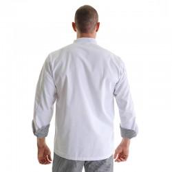veste de cuisine imprime carreaux manches retroussées