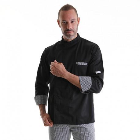 Veste de Cuisine Originale Noire Motifs Petits Carreaux