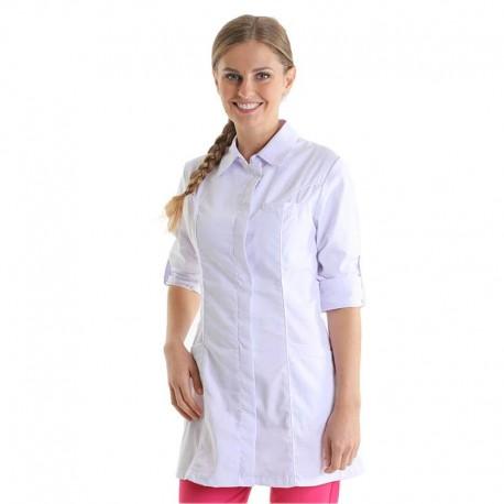blouse médicale blanche fermeture asymétrique