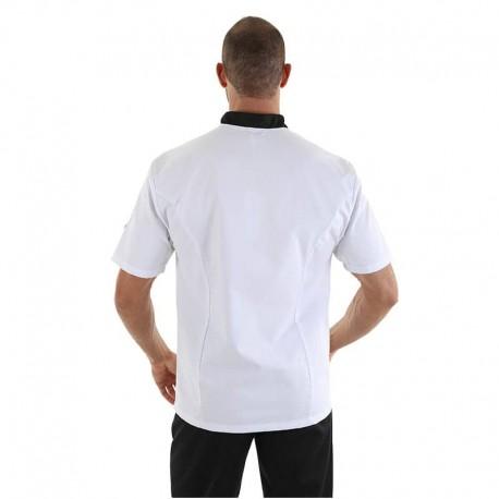 veste de cuisine blanche liseré noir Manelli
