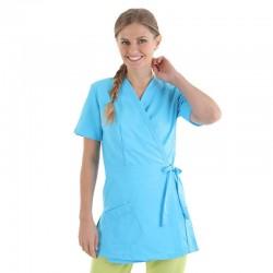 blouse esthéticienne forme cache coeur turquoise