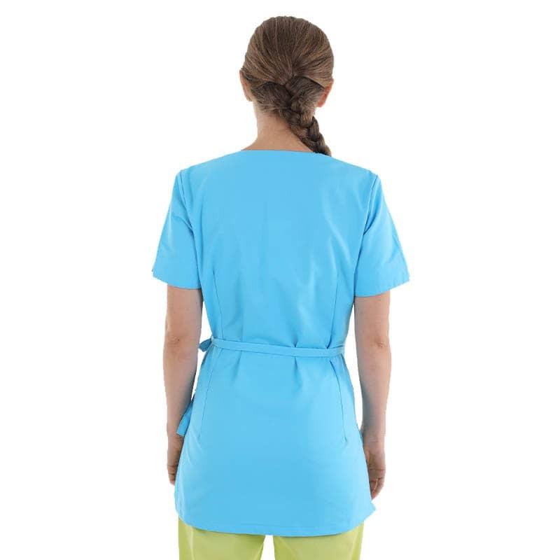 blouse esthéticienne bleu turquoise machines courtes