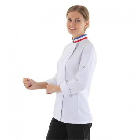 veste de cuisine femme blanche col tricolore