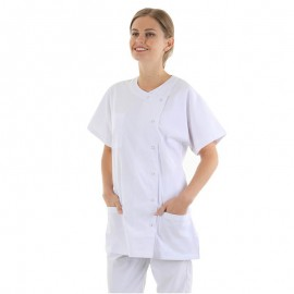blouse médicale blanche boutons asymétrique Manelli