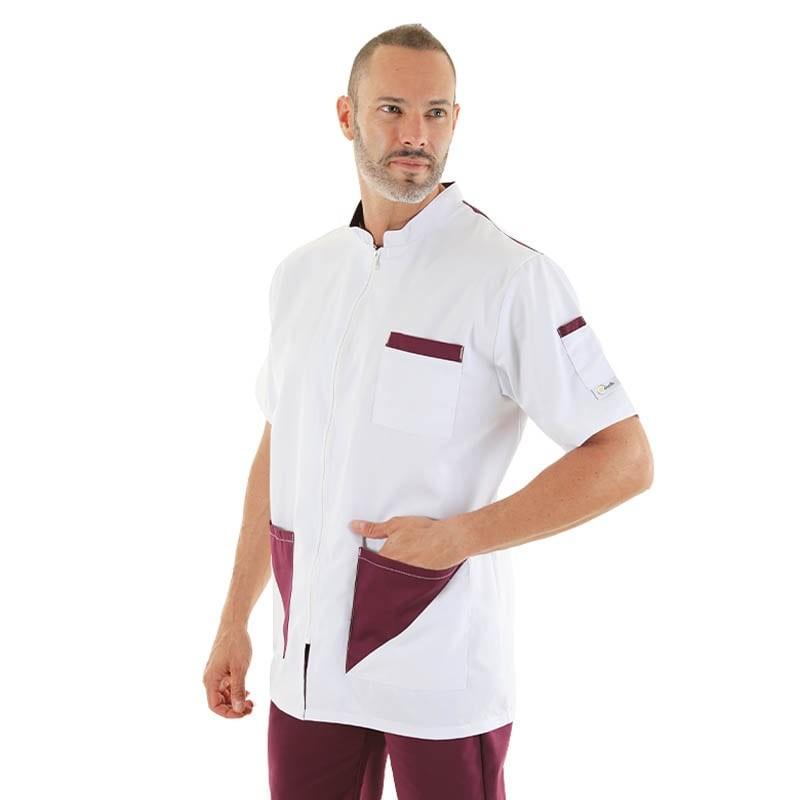 blouse médicale homme blanc et prune lavable a 60 degres