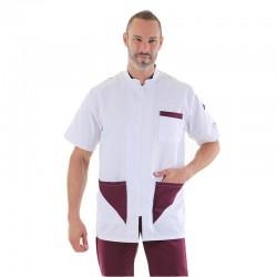 blouse médicale homme empiecement prune poches manelli