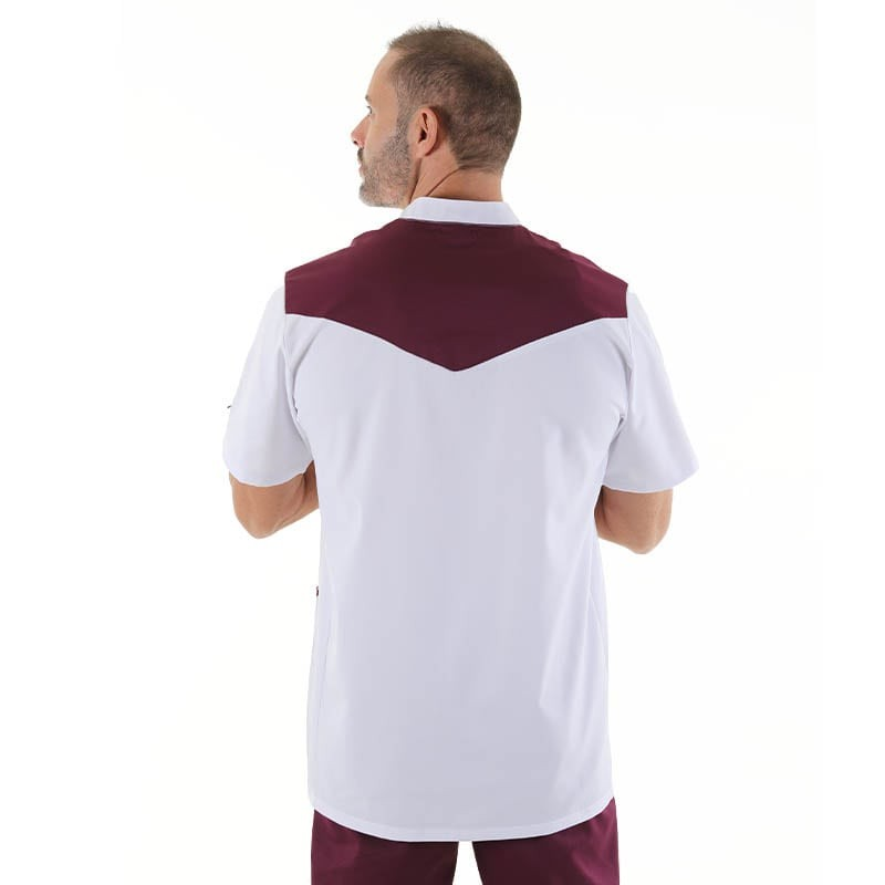 blouse medicale homme fermeture boutons col officier manelli