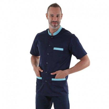 blouse médicale homme marine col turquoise manelli