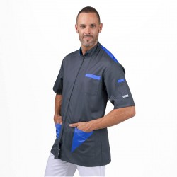 Blouse médicale homme Gris poches Bleu Royal  - MANELLI