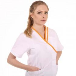 blouse blanche et orange Lafont