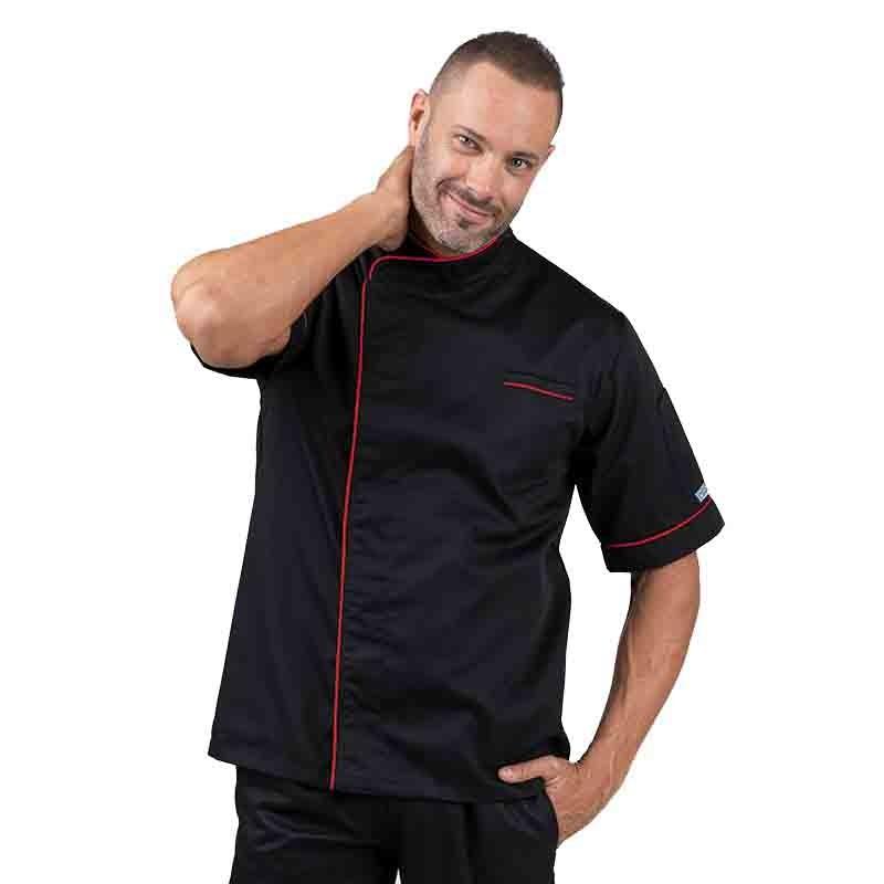 Veste de cuisine noir liseré long rouge face, poche poitrine avec liseré
