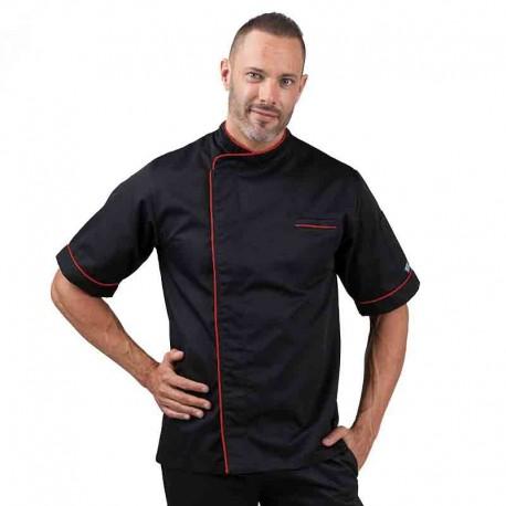 Veste de cuisine noir liseré long rouge, veste en polycoton manches courtes