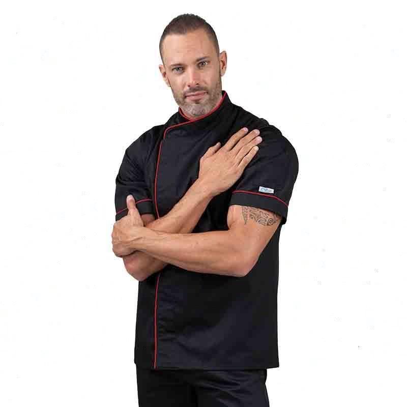 Veste de cuisine noir liseré long rouge, poche stylo sur manche