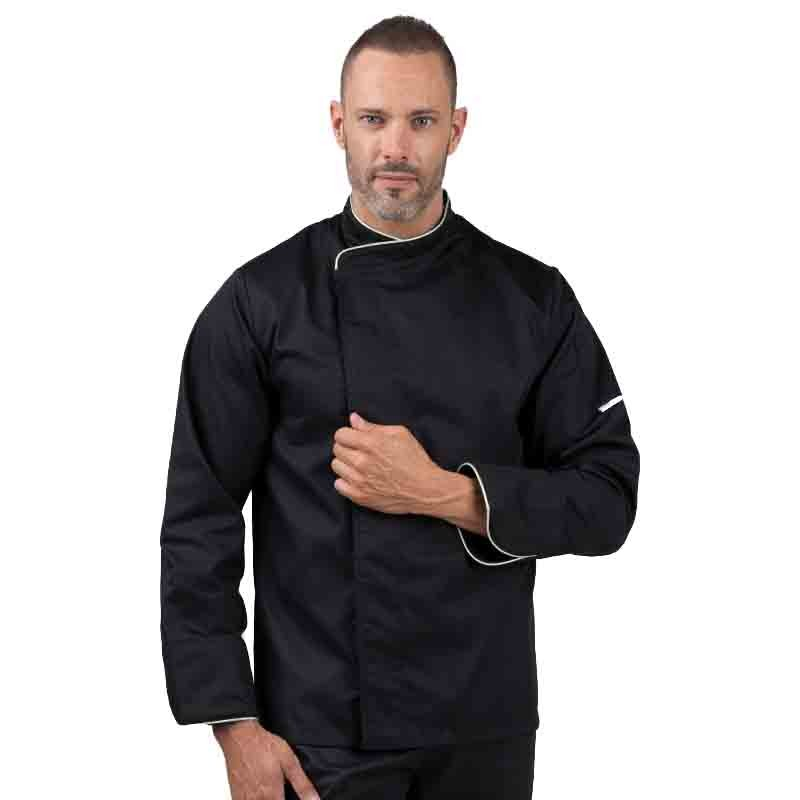 Veste de cuisine noire liseré argent - MANELLI - veste classique boutons pressions