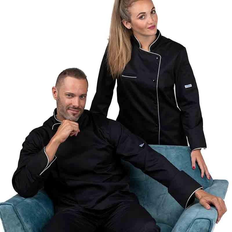 Veste de cuisine noire liseré argent - MANELLI - tissu de qualité polycoton