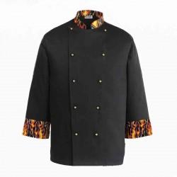 CHEF JACKET DEVIL, noir avec motif flamme, avec boutons visibles