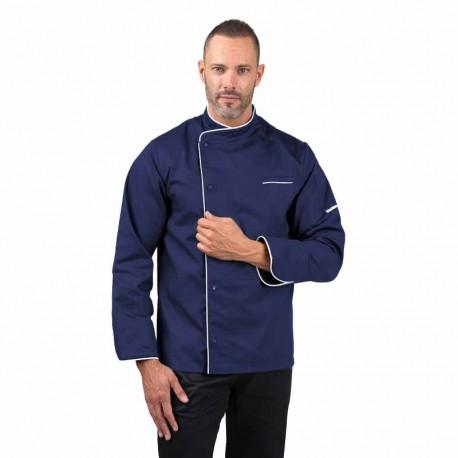 Veste de cuisine bleue liseré blanc ML, manche longue, poche poitrine