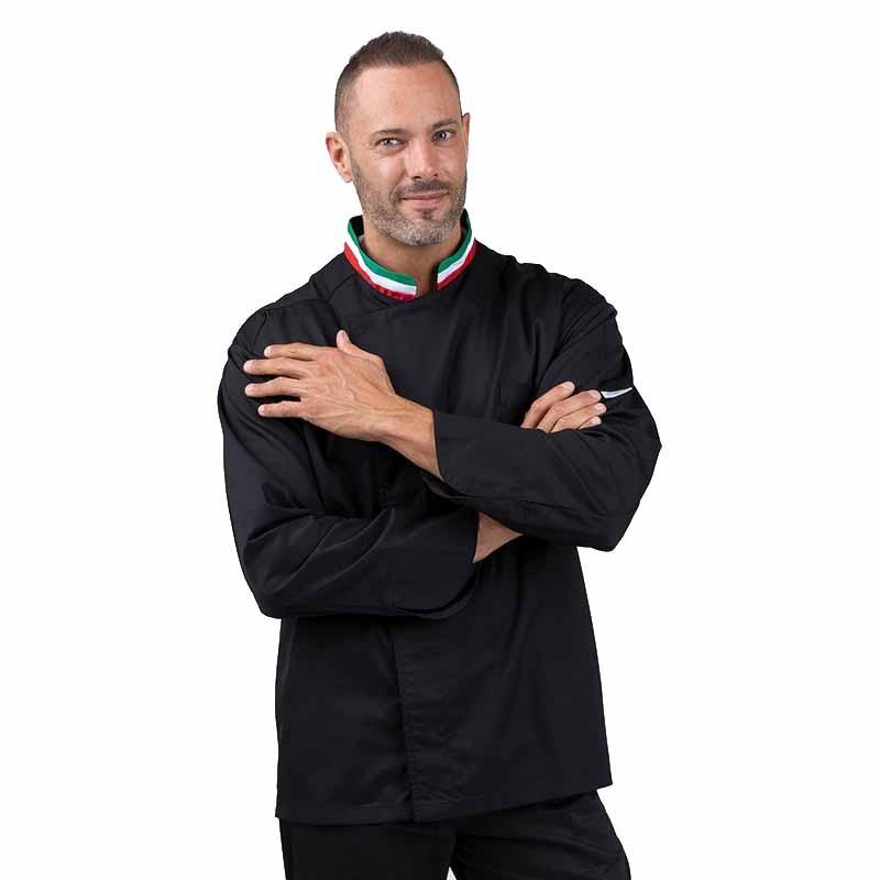 Veste de cuisine noire col italien - MANELLI - col tricolore