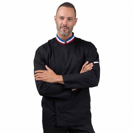Veste de cuisine noire MOF, noir avec col tricolore bleu blanc rouge