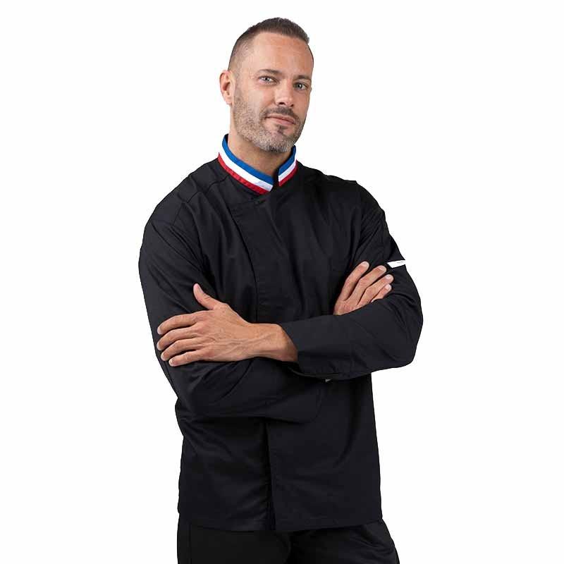 Veste de cuisine noire MOF profil, manche longue avec poche stylo