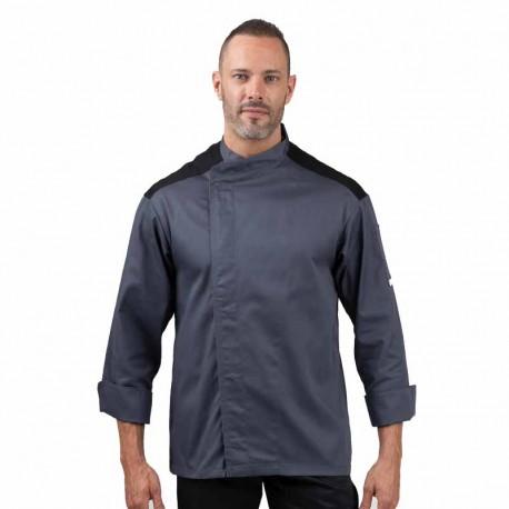 Veste de boucher grise et noire manches longues boutons pressions