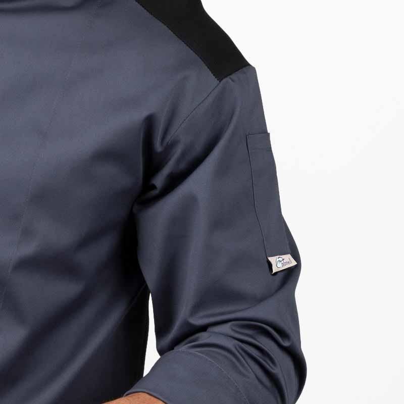Veste de boucher grise et noire  poche à stylo