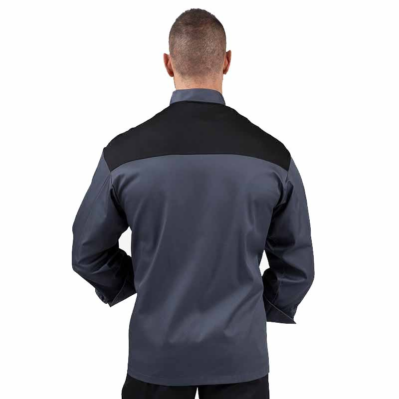 Veste de boucher grise et noire - MANELLI - épaules aérées