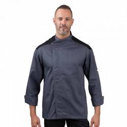 Veste de Cuisine grise - First face, 2 couleurs noir et gris manches longues