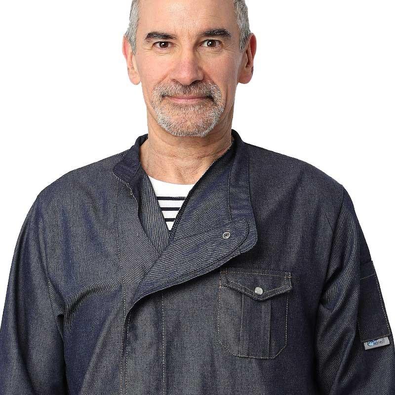 Veste Jean homme Manches courtes - MANELLI 1 col croisé - Une fermeture par boutons pressions cachés sous patte