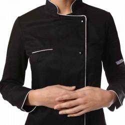 Veste de cuisine femme noire liseré Argent