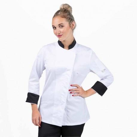 Veste de cuisine blanche col noir - MANELLI