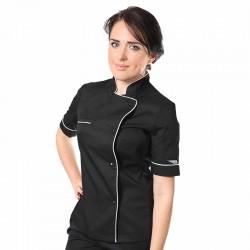 Veste de cuisine femme - Manelli - noire liseré blanc