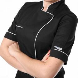 Veste de cuisine femme dos aéré liseré blanc poche poitrine boutons pressions