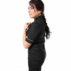 Veste de cuisine femme dos aéré liseré blanc poche à stylo