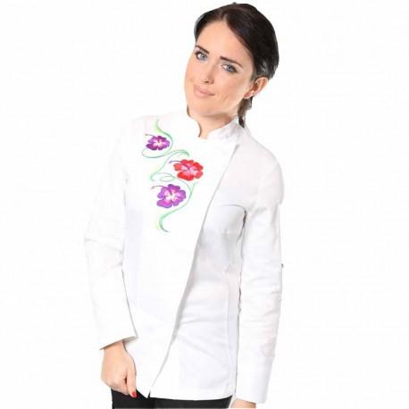 Veste de cuisine femme blanche fleur