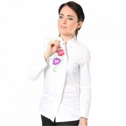 bouton pression veste de cuisine femme blanche fleur