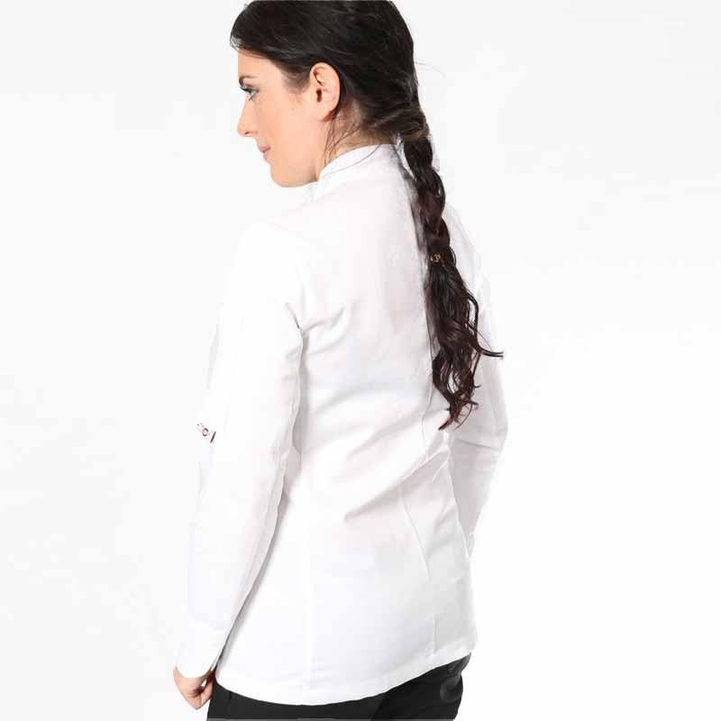 dos veste de cuisine femme blanche fleur