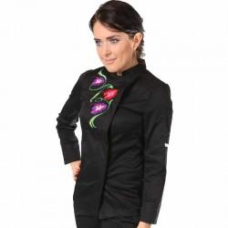 Veste de cuisine noire noire motif fleurs